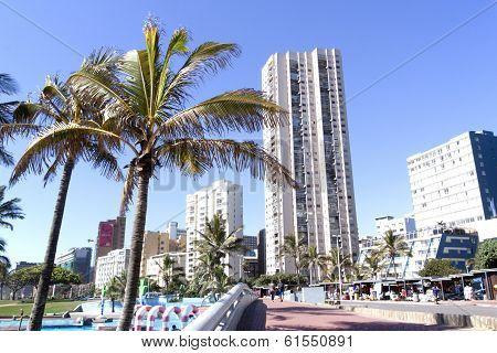Commercial And Residential Buildings On Beach Front
