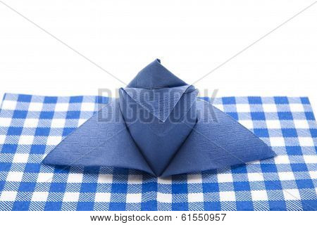 Blue Napkin with Underlay on white background