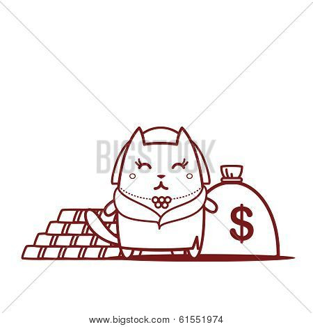 Character Rich Lady In A Fur Coat And A Necklace Line Art