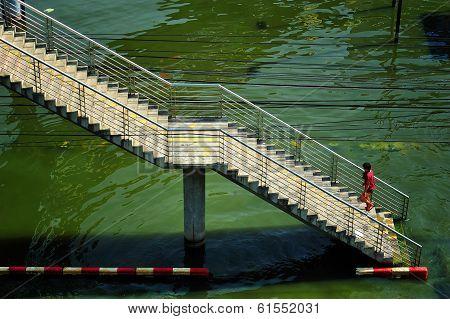 Pedestrian Walk On Pedestrian Bridge