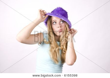 Expression Girl Thinking With Purple Hat