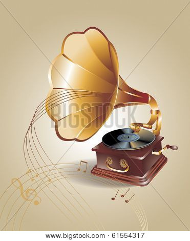 banner with old gramophone. Vector illustration.