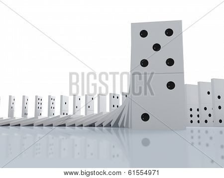 domino effect on white back