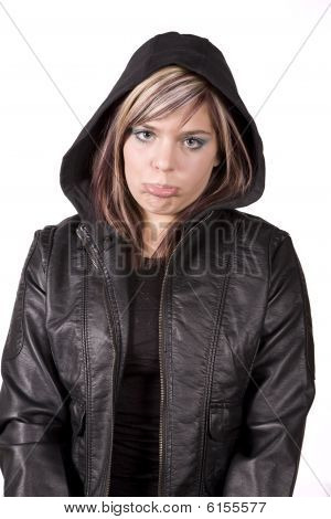 Expression Girl Sad In Black Jacket