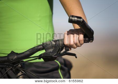 Hand On Bike Handlebar