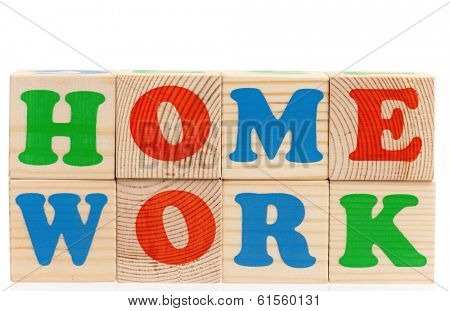 Toy letters that spell homework against a white background