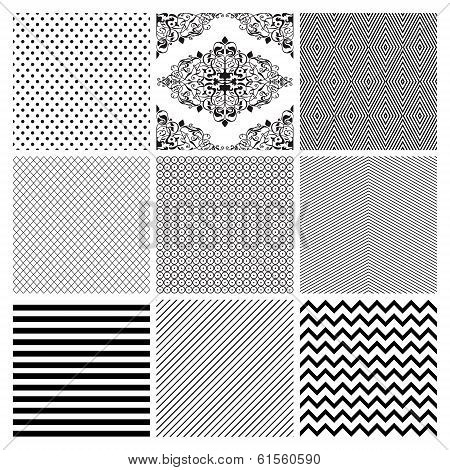 Seamless Black and White geometric subtle background patterns.