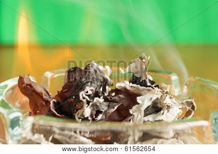 Burning Paper In A Glass Ashtray