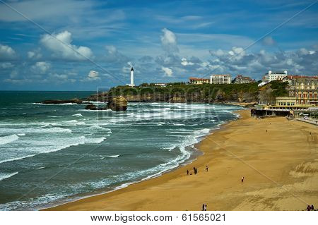 Beautiful sky over Biarritz, France