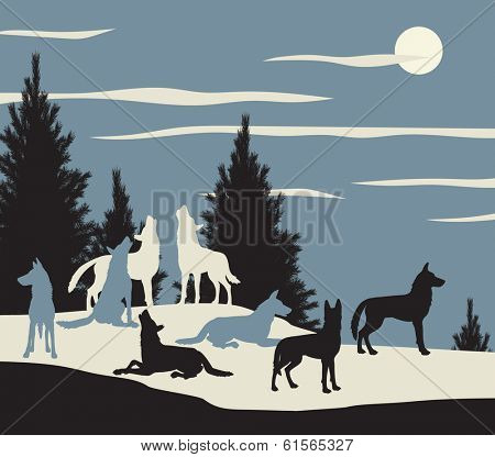 Illustration of a wolf pack howling at the moon