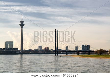 View of bridge and tower, Duesseldorf, Germany