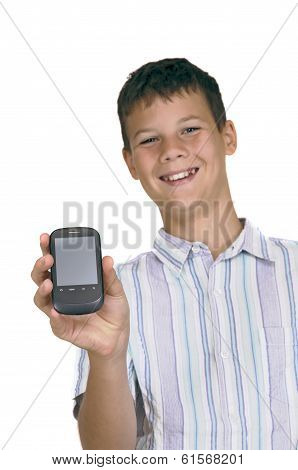 Boy Showing Mobile Phone With Clipping Path