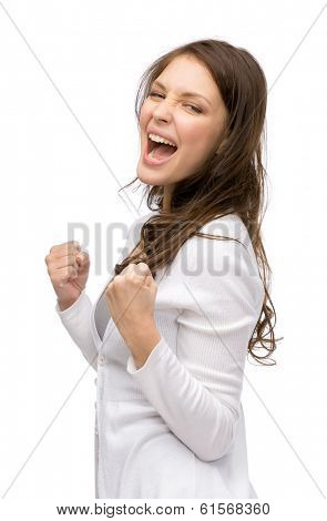 Half-length portrait of happy woman fists gesturing, isolated on white. Concept of success and victory