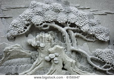 Chinese Feng Shui Pine Tree Carving.