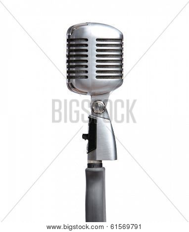 Close up of silver microphone, isolated on white. Concept of music and arts