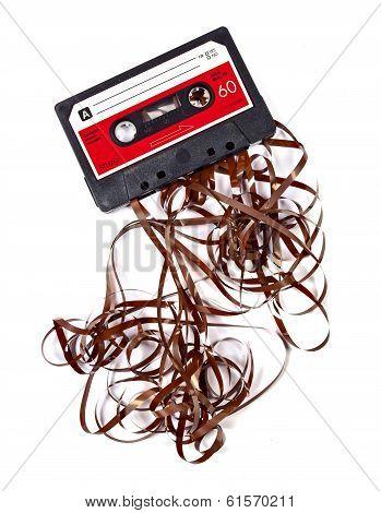 broken music cassette
