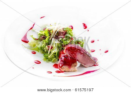 Duck Breast With Berry Sauce And Salad