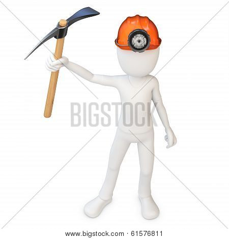 3D Man Miner With Hardhat And Pickaxe