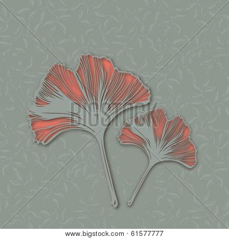 A pair of ginkgo leaves, vector illustration eps9