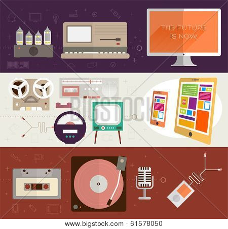 The Future is Now. Vintage Gadgets Flat Icons Set. Retro PC, TV, Vinyl Player, Cassette and Tube Amplifier. Modern Tablet PC, Mobile Phone, Microphone and Computer. Mobile Apps Items, Web Technologies