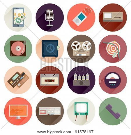 Vintage Gadgets Flat Icons Set. Retro PC, TV, Vinyl Player, Cassette and Tube Amplifier. Modern Tablet PC, Mobile Phone, Microphone, Safe and Computer. Mobile Apps Items, Web Technologies, Pay Service