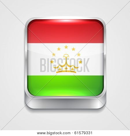 vector 3d style flag icon of tajikistan