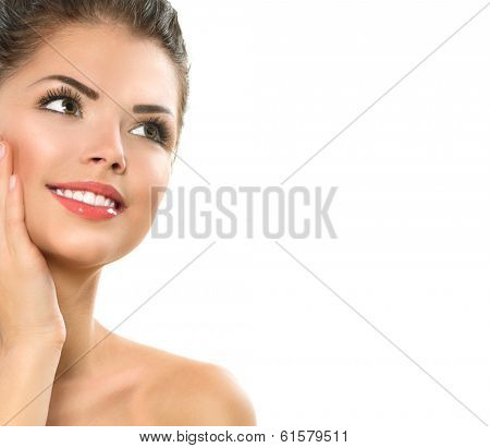 Beauty Spa Woman Portrait. Beautiful Girl Touching her Face. Perfect Fresh Skin. Pure Beauty Model Girl. Youth and Skin Care Concept. Healthy smile. Health Care concept. Isolated on white background