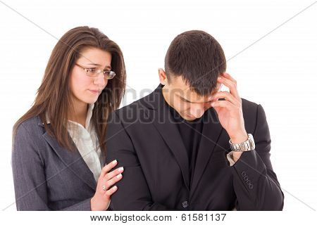 Supporting Woman Consoling Sad Man