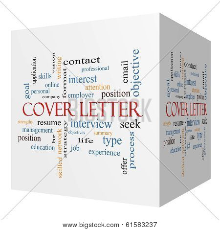 Cover Letter 3D Cube Word Cloud Concept