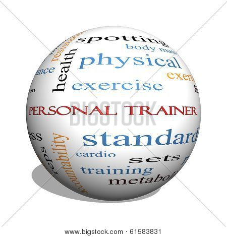 Personal Trainer 3D Sphere Word Cloud Concept