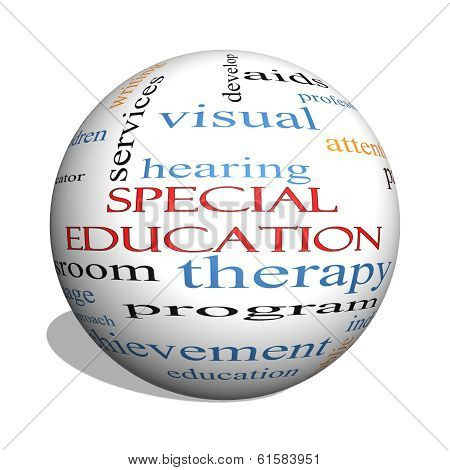 Special Education 3D Sphere Word Cloud Concept
