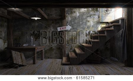 ancient concept room shelter interior with signboard and stairs