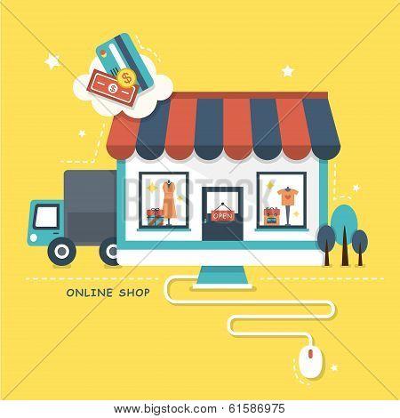 Flat Design Illustration Concept Of Online Shop