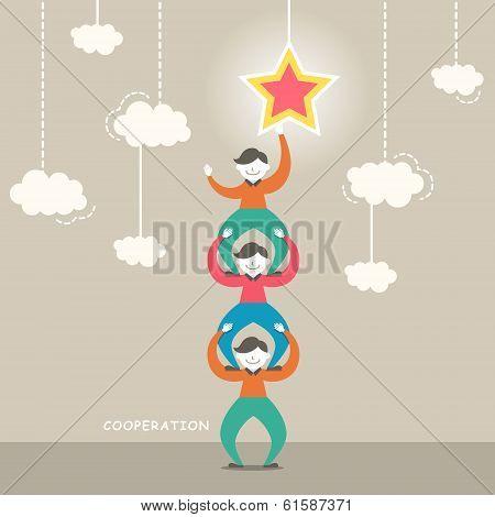 Flat Design Illustration Concept Of Cooperation