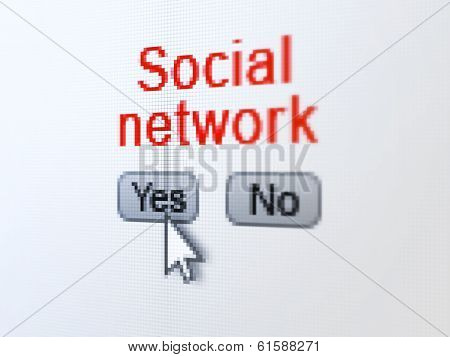 Social network concept: Social Network on digital computer scree