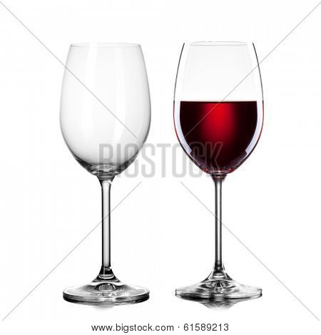 empty and full glass of wine isolated on white