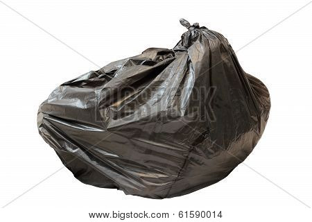 Big Black Isolated Garbage Bag