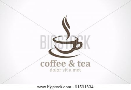 Coffee Tea Cup vector logo design template. Cafe emblem. Cafeteria symbol.