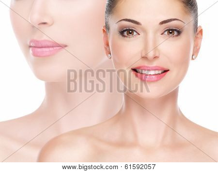 Model Face Of Beautiful Smiling Woman