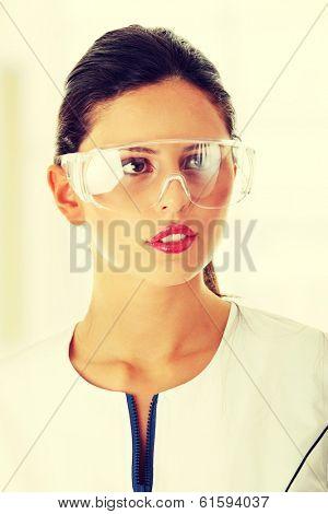 Woman scientist close up portrait