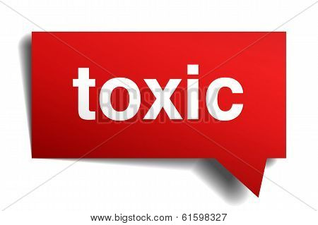 Toxic Red 3D Realistic Paper Speech Bubble Isolated On White