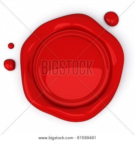 Red wax seal with blank field, 3d