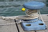 stock photo of bollard  - Marine mooring rope and bollard - JPG