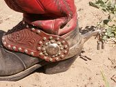 stock photo of buckaroo  - My buckaroo booth with a fancy spur - JPG