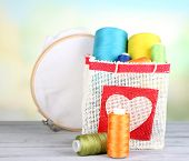 picture of lurex  - Colorful bobbins of thread  in bag - JPG