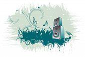 picture of lien  - speaker on grunge retro wave lien background - JPG