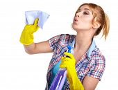 picture of spring-cleaning  - Spring cleaning woman pointing cleaning spray bottle - JPG