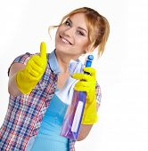 image of spring-cleaning  - Spring cleaning woman pointing cleaning spray bottle - JPG