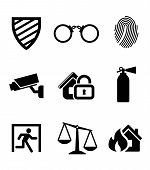 pic of handcuff  - Safety and security icons set with a security shield  - JPG