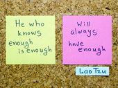 image of interpreter  - famous Lao Tzu quote interpretation with sticker notes on cork board - JPG